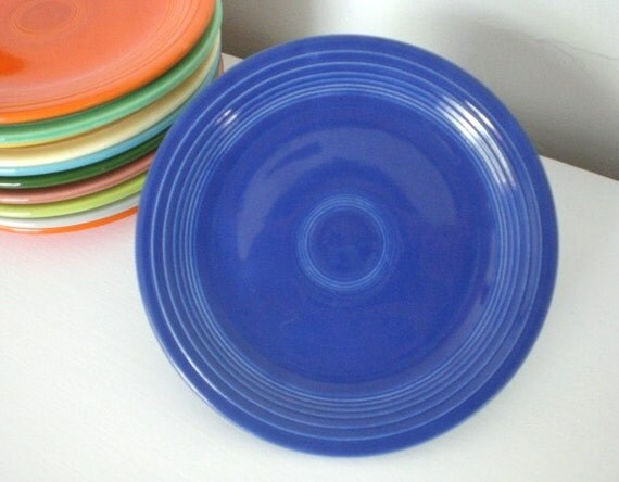 Vintage Fiestaware Cake Salad Plate Cobalt