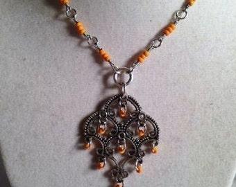 Orange Necklace - UT Jewellery - Silver Jewelry - Pendant - Seed Beads - Texas Longhorn - Everyday