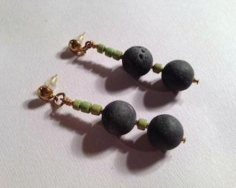 Black Earrings - Green Jewelry - Gold Jewellery -  Lava Bead Gemstone - Wood - Unique - Funky