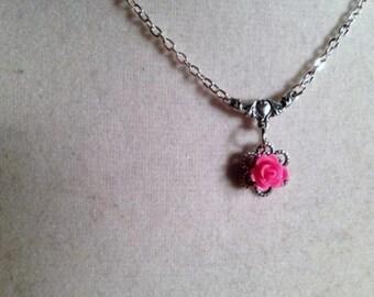 Pink Flower - Necklace Pendant Jewellery - Silver Jewelry - Chain - Dainty - Filigree - Wedding - Bridesmaid