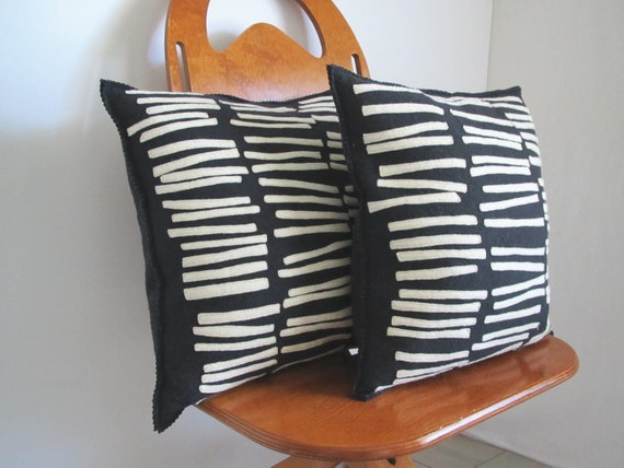 Vintage Felt Pillow......black ... white....wool felt......graphic geometric.......2 available