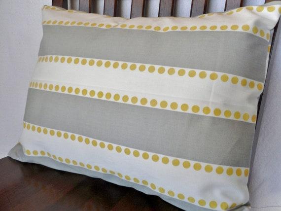 Striped White Gray Yellow Polka Dot Lumbar PIllow 12x16