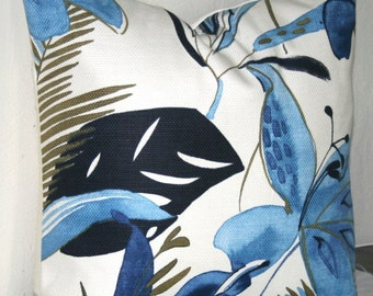 Navy Blue and White Modern Floral 18 inch Decorative Pillows Accent Pillows Throw Pillow Cushion Cover