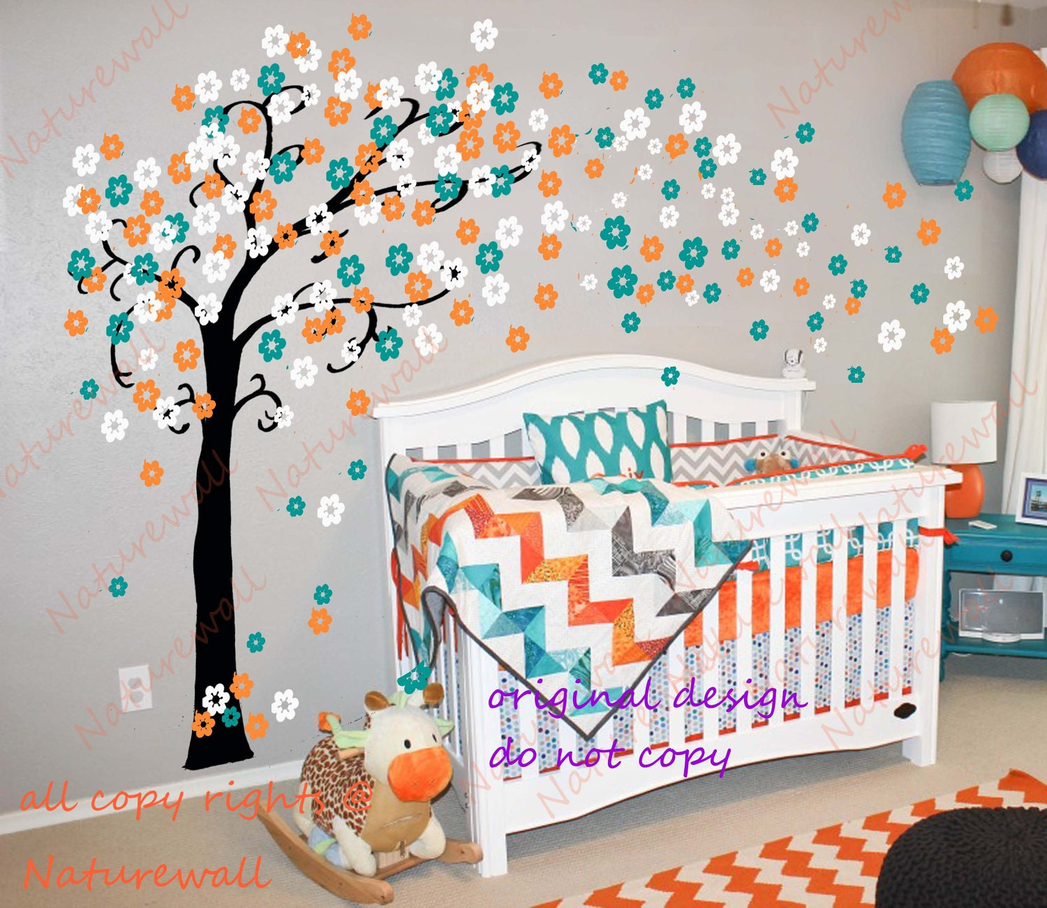 Nursery decals cherry blossom wall decal tree decal by for 007 room decor