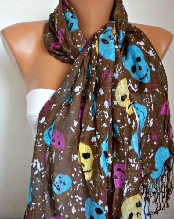 Skull Scarf - Shawl - Sale scarf -  Free scarf -  fatwoman