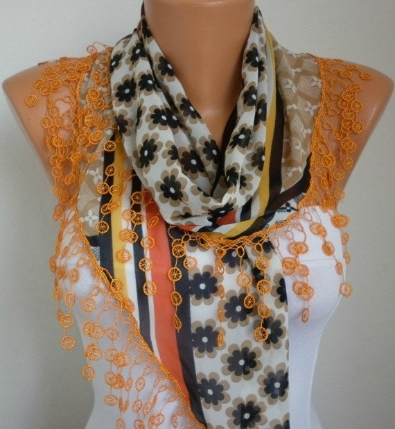 Fatwoman Anils - scarf shawl - Lace Scarf -  -  Free scarf - Multicolor -