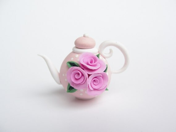 Miniature teapot for 1/12 scale dollhouse in pink handmade from polymer clay