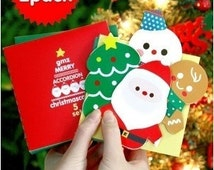 2 Sets Korea Boxed Happy Christmas Cards Blessing Card- Envelope -Sticker Sets