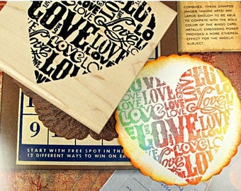 Wooden Rubber Stamp - Vintage Style - Love