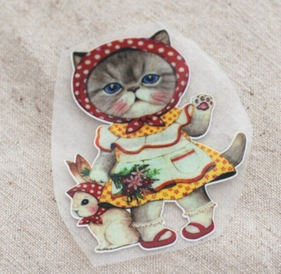 DIY Cloth Art Manual Cloth Decoden Figure Hot Flocking Tape Sticker Plate Backing Painting Cute Cat