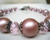 "Vintage Style Pearl Necklace Antique Pink Crystals ""You May Have This Dance"""