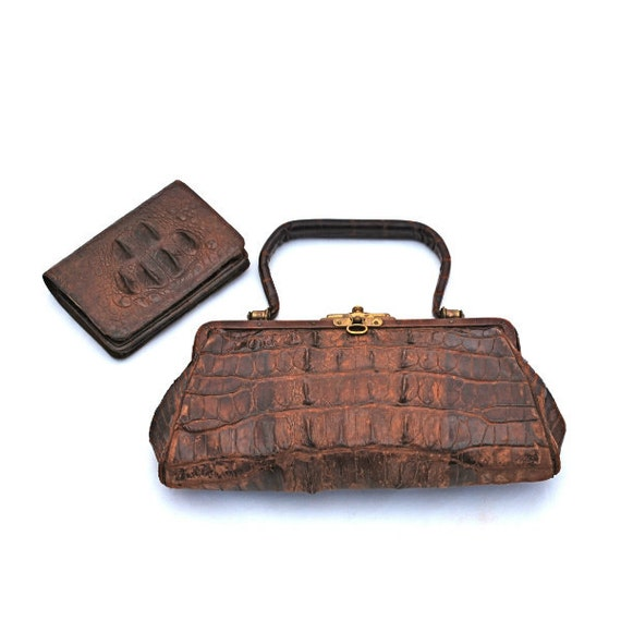 Antique Crocodile Handbag and Wallet 1920s Vintage