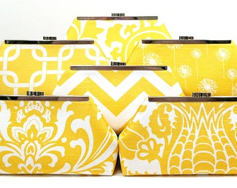 Bridesmaids Clutch Choose Your Fabric Yellow Set of 5