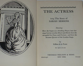 Lillian de la Torre, Story of Sarah Siddons, Books, Biographies, Theater Stage, Queen London Stage,
