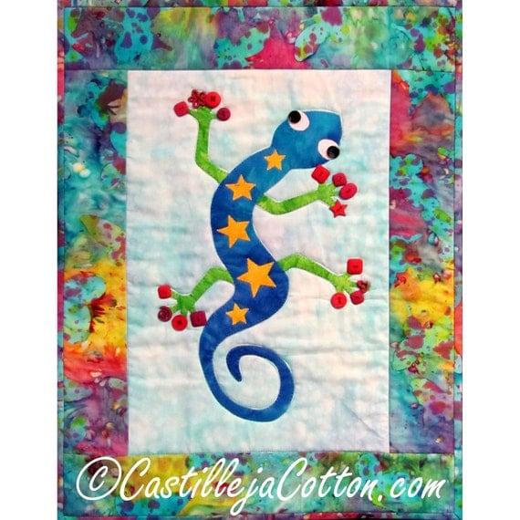 Gecko Quilt ePattern, 4419-10, Appliqued wall quilt, gecko wall hanging, gecko quilt