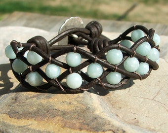 Woven Leather and bead bracelet cuff with Amazonite bead