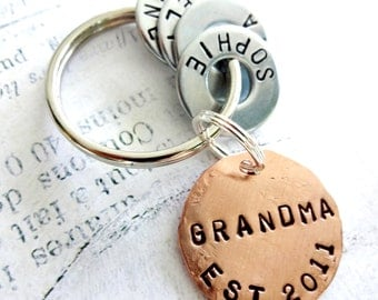 GRANDMA Gift Personalized Christmas Keychain - Hand Stamped Key Chain - Grandparent Birthday - Copper Disc & Washers
