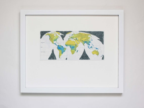 Map Art, Embroidered World Map Cutout on Paper