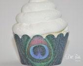Mini Peacock Themed Glitter Cupcake Wrappers - Mini Cupcake Muffin Wraps Set of 24