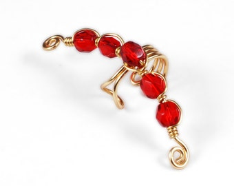Gold Ear Cuff with Red Glass Beads