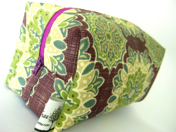 Boxy Pouch- Washable Makeup Bag, travel, pencil case, toiletry, nail, craft, zippered, multi-use