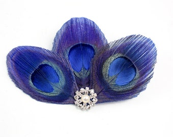 Sneaky - Royal blue feather hair clip / Peacock fascinator