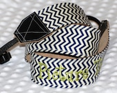Personalized chevron fabric camera strap D/SLR in chevron fabric