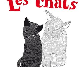 Fine art print - Les Chats de Tanger - A3 / 11.69 x 16.54 inch Digital Art Illustration Oriental Cats Print