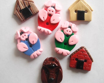 Button Three Little Pigs and the Big Bad Wolf handmade polymer clay buttons ( 7 )