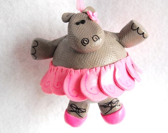 Christmas Ornament Tutu Hippo handmade glass covered polymer clay ornament ( 1 )