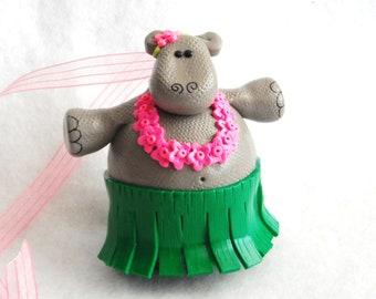 Christmas Ornament Hula Hippo handmade polymer clay glass covered ornament ( 1 )