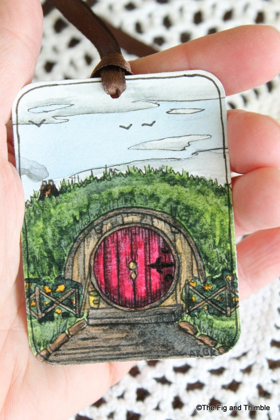 Hobbit Tags - Handpainted Set of Four - Tolkien Lord of the Rings