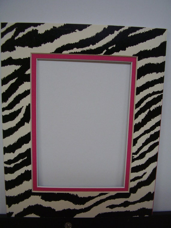 Picture Frame Mat Double Zebra Print Black and by SkinnyDogArt