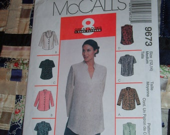 Vintage 1998 McCalls Pattern 9673 Misses Top, Size 12, 14  Uncut