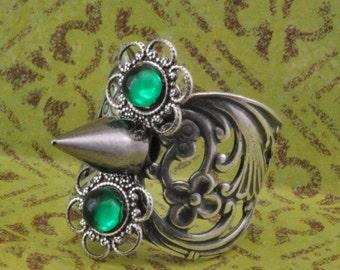 Silver Goth Elegance Spike Ring