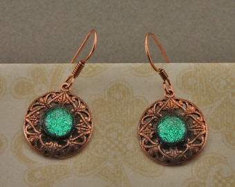 Copper Filigree and  Fused Glass Earrings