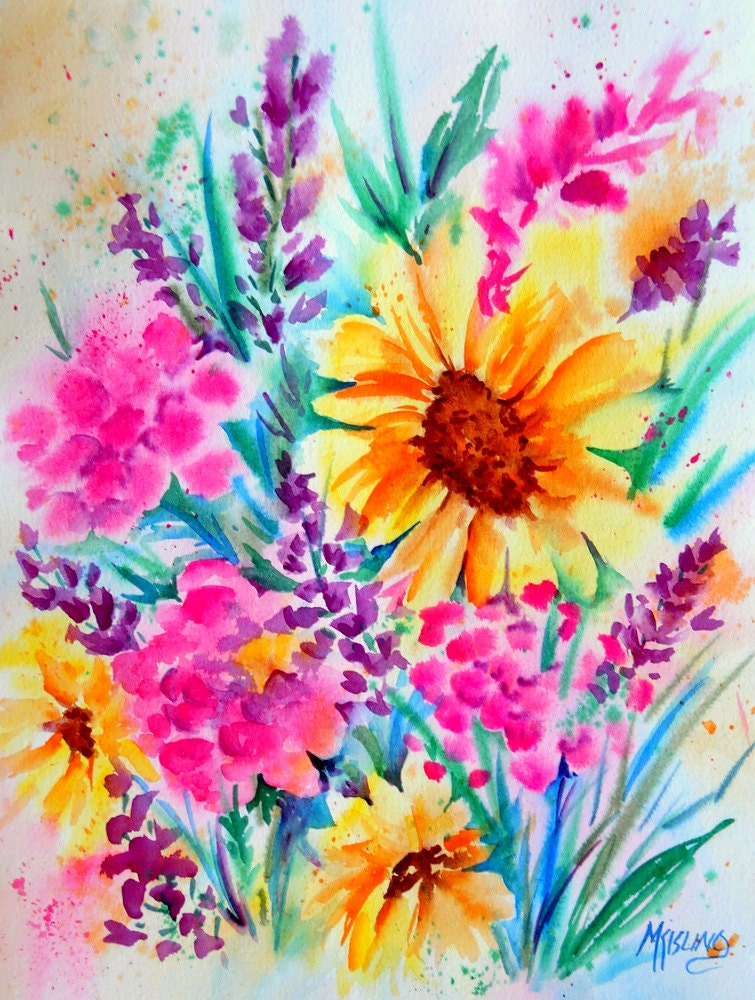 Original watercolor of spring bouquet by marthakislingart for Spring flowers watercolor
