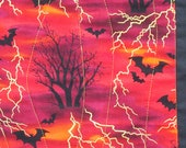 QUILTED HALLOWEEN RUNNER or Wall Hanging with Bats, Trees and Gold Lightning - TessieTextile