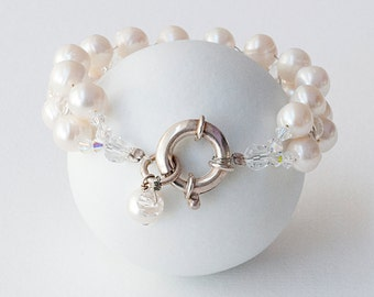 White Pearl Bracelet, Natural Pearls & Sparkly Crystal Bridal Cuff Bracelet, Freshwater Pearl Wedding Bracelet, Pearl Wedding Pearl Jewelry