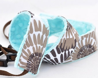 Camera dSLR Strap - Turquoise Daisies with Turquoise Blue Minky - Christmas Gift for Photographer