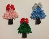 3D Christmas Tree Ribbon Sculpture Hair Clip or Pin