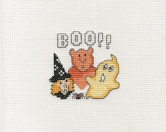Cross Stitch Piece Halloween Witch, Devil and Ghost Handmade