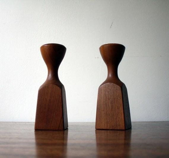 Dansk Vintage Teak Danish Modern Candle Holders