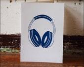 Headphones DJ card, blank music birthday notecard