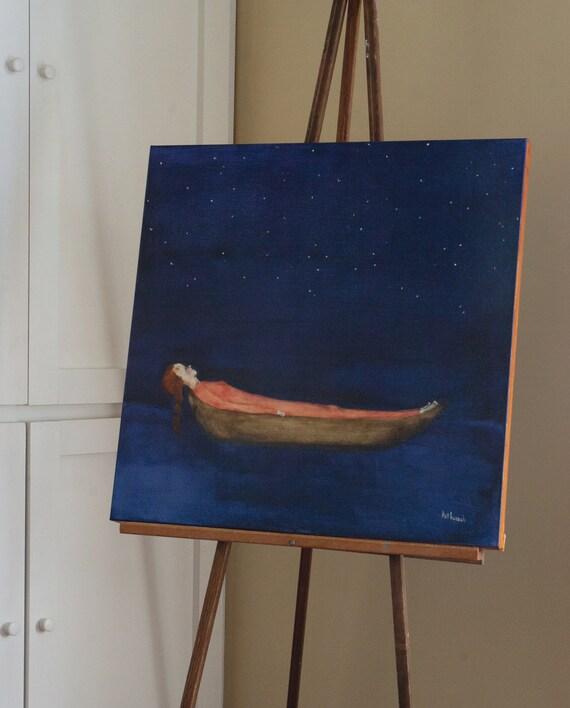 "Acrylic painting.girl in boat original painting. indigo blue lake evening sky ""Stargazer"""