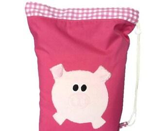 Pink Pig drawstring / PE bag