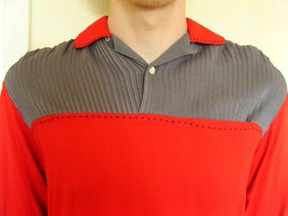 1950's M PULLOVER VAN HEUSEN mens rockabilly shirt