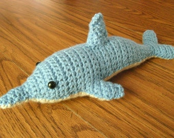 Hand Crocheted Stuffed Dolphin Toy