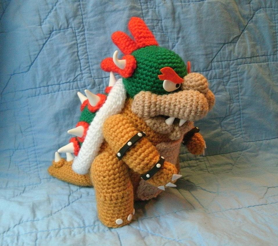 Bowser Doll Super Mario Brothers Crochet Amigurumi Bowser