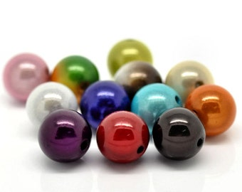 20 Large Glow Beads Assorted Colors 14mm - BD41